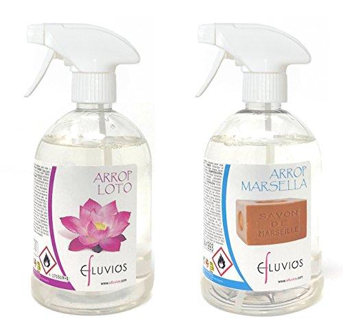 LA CORBERANA Ambientador para Ropa - Desodorante Textil - Pack (500 ml Flor de Loto+ 500 ml Jabón de Marsella)
