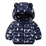 Bebés Abrigos de Invierno Chaqueta Ligera para Niños con Encapuchado Bebé Niños Niñas Ropa de Calle Azul 1-2 Años