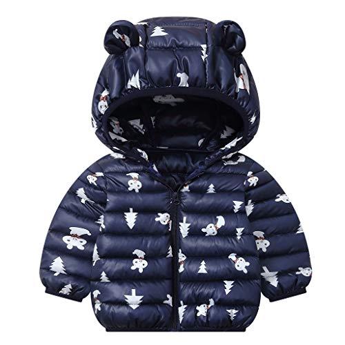 JiAmy Bebés Abrigos de Invierno Chaqueta Ligera para Niños con Encapuchado Bebé Niños Niñas Ropa de Calle Azul 1-2 Años