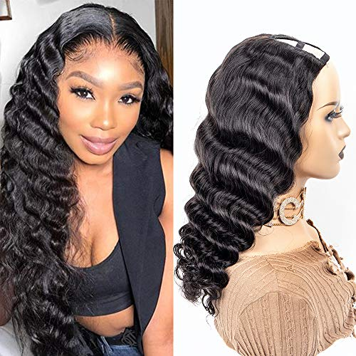 Brazilian Virgin Loose Deep Wave Wig 2x4 U Part Human Hair Wigs 100% Unprocessed Brazilian Virgin Human Hair Half Wig For Black Women Natural Color (18Inch, loose deep U part)