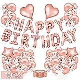 Globos de Oro Rosa, Decoraciones de Fiesta de Cumpleaños, Pancarta de Feliz Cumpleaños Globo, Globos de Confeti, Látex Corazón Estrella Globos de Lámina para Cumpleaños Boda Incluso Decoración Fiesta