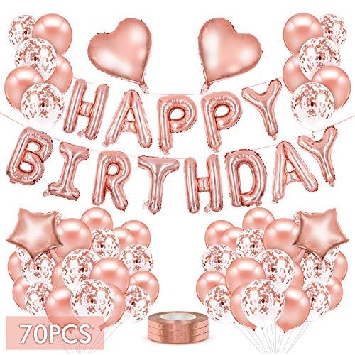 Rosegold Luftballons, 70 STK Geburtstagsdeko Mädchen Happy Birthday Girland Party Ballons Folienballon Konfetti Luftballons Latex Ballons mit Bändern für Geburtstag, Hochzeit, Babyparty