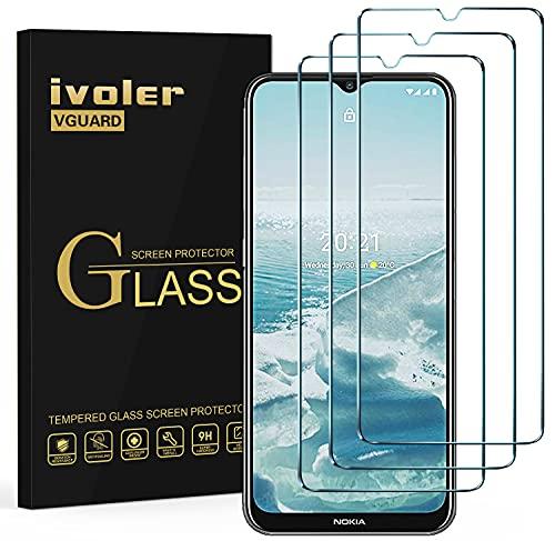 ivoler 3 Unidades Protector de Pantalla para Motorola Moto E7 / Nokia G20 / G10 / Realme 7i / 6i / 5i / 5 / C3, Cristal Vidrio Templado Premium, 9H Dureza, Antiarañazos, Sin Burbujas