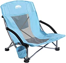 Coastrail Outdoor Folding Beach Chair with Cooler Bag, Cup Holder for Sand Camp Concert Lawn, Low Sling and High Breeze Mesh Back, Portable Camping Chairs for Adults, Easily Foldable Lightweight