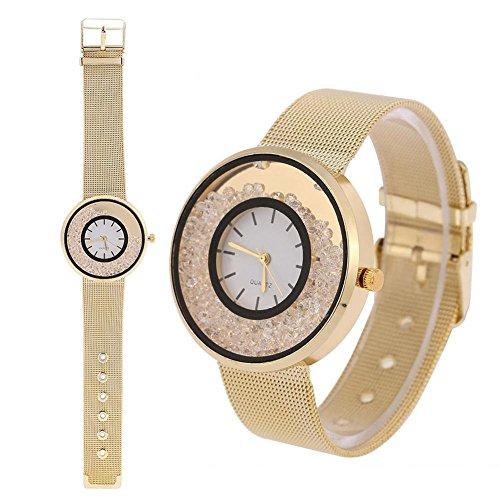 Sonew Relojes de Cuarzo de Las Mujeres Reloj de Pulsera analógico Banda de aleación Redonda Reloj de Pulsera de Diamantes de imitación Reloj de Pulsera(Gold)