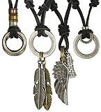 Jstyle 4 Pcs Leather Necklace for Men Women Pendant Vintage Wing Feather Chain Adjustable Black