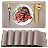 Waterproof Leather Placemats, Wipeable Washable Waterproof Placemats, Champagne Indoor Table Mats Set of 6, Rectangle Easy Clean Placemats, WEHVKEI Place Mats for Home Kitchen Dining Table (6 PCS)
