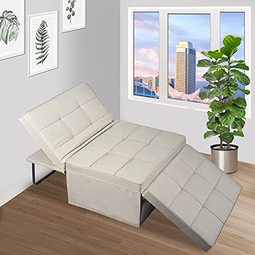 Apepro Folding Ottoman Sleeper Bed, 4 in 1 Ottoman Sofa Bed, Convertible Chair Sofa & Couch & Guest Bed & Chaise Lounge for Living Room Office Bedroom & Apartment Beige