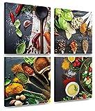 MOISHO - Quadro su tela per la cucina con spezie tra cui paprika e peperoncini, colori intensi, già tesi su tela in formato XXL, da appendere, multi pannello da 4 x 30 x 30 cm