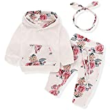 Ttkgyoe Baby Mädchen Langarm Floral Hoodie Tops Sweatshirt mit Känguru Tasche Hosen Stirnband Outfits Set