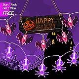 Pufee Decoraciones Halloween Luces de Araña/Murciélago Linterna [3M-20 Led] Decoración para Halloween, Fiestas Temáticas y Hogar, Jardín Casa Cocina