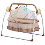 LOYALHEARTDY Baby Cradle Swing 3 Speed Electric Stand Crib Auto Rocking Chair Bed with Remote Control Infant Musical Sleeping Basket for 0-18 Months Newborn Babies, Mosquito Net+Mat+Pillow (Khaki)