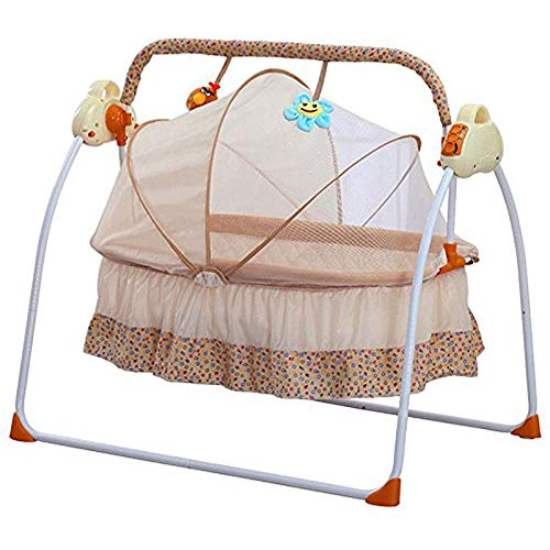 LOYALHEARTDY Electric Baby Crib Auto-Swing with Remote Control Portable Baby Cradle Infant Space Safe Crib Infant Rocker Cot Lullabies + Mat