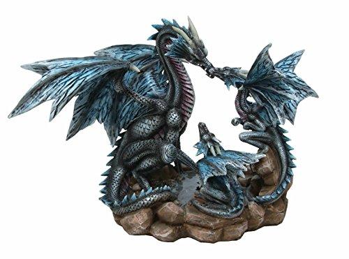 FIGURINE DRAGON - FAMILLE DE DRAGONS BLEUS - PAPA MAMAN ET BEBE - (HT 19.5 X 26 cm) - STATUETTE DRAGON