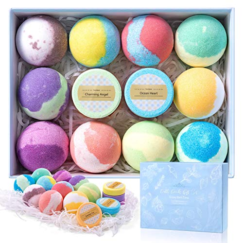 habibee 10 Pcs Bath Bombs 3.5oz + 6 Pcs Shower Steamers Gift Set with Plant Essential Oil and Sea Salt Handmade for Dry Skin Moisturize & Bubble Bath Birthday Christmas Spa Gifts for Women, Men, Kids
