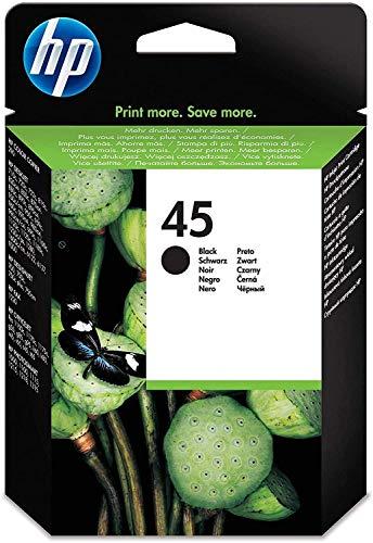 HP 45 51645AE, Negro, Cartucho de Tinta Original, compatible con impresoras de inyección de tinta HP Deskjet 710c, 720c, 815c, 850c, 930, 980cXi, 1180c, 1215; Officejet T45, T65, G55M