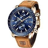 BENYAR Mens Watches Quartz Chronograph Business Luxury Brand Waterproof Wristwatches Fashion Brown Leather Watches for Men (Brown Blue)