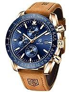 BENYAR Waterproof Chronograph Men Watches Fashion Casual Leather Band Strap Wrist Watch (Brown Blue)