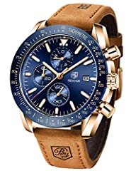 FASHION AND SPORT STYLE: Novel rose gold-blue and rose gold-black dial with a brown leather strap. QUALITY LEATHER BAND: Scratch Proof Mineral Glass, automatic date window displays between 3 o'clock, genuine leather strap with durable and comfortable...