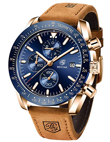 Benyar impermeabile cronografo orologi moda casual cinturino cinturino in...
