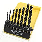 Topzone 8 Pieces 1/8' - 3/8' Brad Point Drill Bits Set for Wood