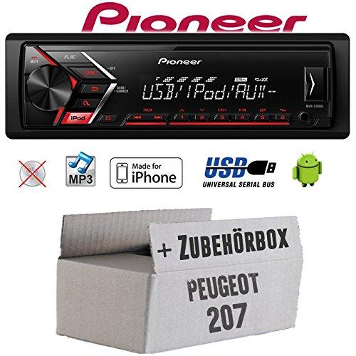 Autoradio Radio Pioneer MVH-S110UI - | MP3 | USB | Android | iPhone Einbauzubehör - Einbauset für Peugeot 207 - JUST SOUND best choice for caraudio