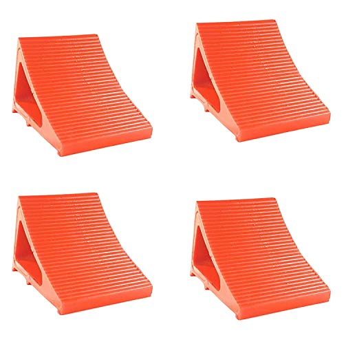 """Wheel Chock Camper Accessory Trailer Tire Chock RV Levelling Block Heavy Duty Urethane for Trucking RVs Campers Trailers Trucks. Stronger than Rubber Chocks, 8"""" Long 6 """" Wide 6"""" High (4 Pack Orange)"""