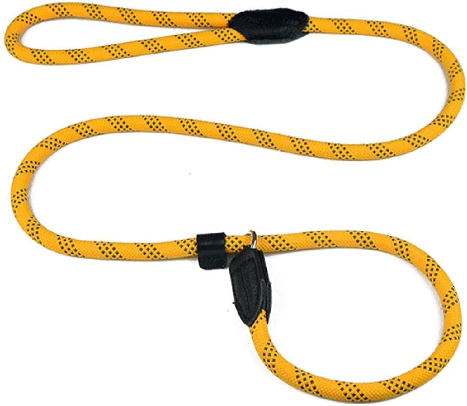 P Chain Light Training Dog Rope Collar Traction Rope Nylon Cowhide Material Medium Large Dog (color   Yellow, Size   0.75)