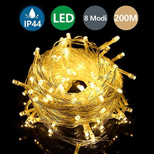 Hengda Lichterketten, 200M 1000 LED Lichterkette Aussen IP64 Wasserdicht, 8 Modi Lichterkette Außen für Garten, Bäume, Terrasse, Weihnachten, Hochzeiten, Partys,Warmweiß