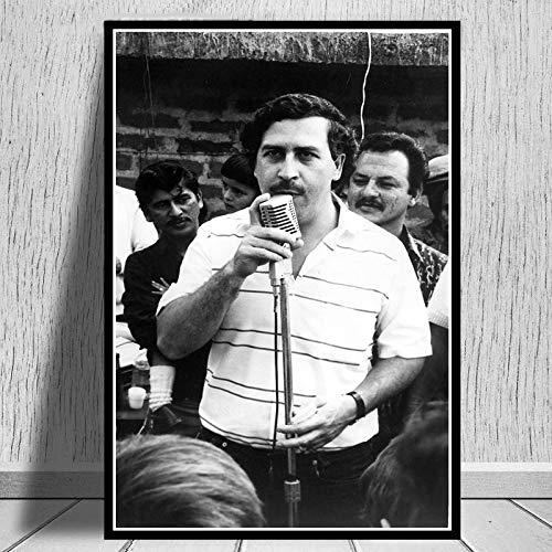 supmsds Kein Rahmen Pablo Escobar Charakter Legende Retro Vintage Poster und Drucke Malerei Wandkunst Leinwand Wandbilder für Wohnzimmer Home Decor 40x50cm