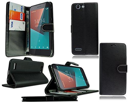 PIXFAB Schutzhülle für Vodafone Smart E8 VFD 510 (hochwertiges Leder), Schwarz
