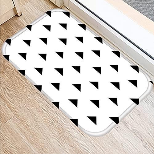 OPLJ Felpudo de Bienvenida con impresión geométrica en Blanco y Negro nórdico, Alfombra Absorbente Antideslizante para baño y Cocina A16 50x80cm
