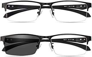 Transition Photochromic zonnebrillen, Multifocus Eyewear De half-frame Zon Lezers Blue Light Filter, Heren Leesbril UV400...