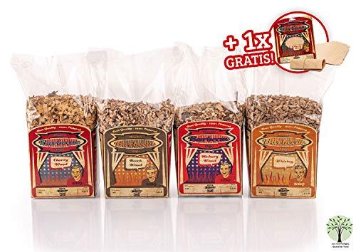 Axtschlag 4+1 Set Räucherchips BBQ Favorites + GRATIS 8X Grillpapier, für Gasgrill, Elektrogrill und Kohlegrill, 4kg Hickory, Kirsche, Buche und Whisky