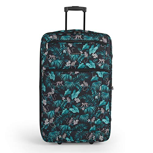 Constellation LG007314PCMONFSDIR4 27 Inch Eva Cabin Suitcase | Carry Handles | Push Button Trolley Mechanism | Polyester | Monkey Print