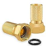 2X F-Stecker 7,2mm mit Gummidichtung Vergoldet für Koaxial Antennenkabel Sat Kupplung Kabel BK Anlagen Massiv HQ 4K UHD von HB-DIGITAL