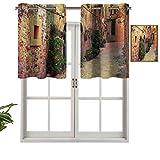 Hiiiman Cortinas térmicas aisladas con cenefa en Valldemossa Village Mallorca, España, imagen de turismo de puerta, 106,7 x 45,7 cm para decoración de salón comedor
