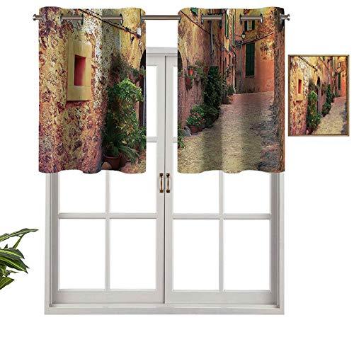 Hiiiman Cortinas opacas con ojales en la calle Valldemossa Village Mallorca España Vintage Puerta Turismo Imagen Set de 1 cenefas de media ventana pequeña de 137 x 45 cm para cocina