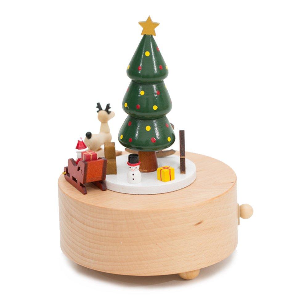 Kenor Árbol de Navidad Caja Musical Cajas De Música De Madera Presente De Navidad Regalo Decoración De Madera: Amazon.es: Hogar