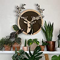 Decoración Ciervo - Arte de la pared - Madera y Corcho - Arte moderno - Arte en capas - Panel de madera