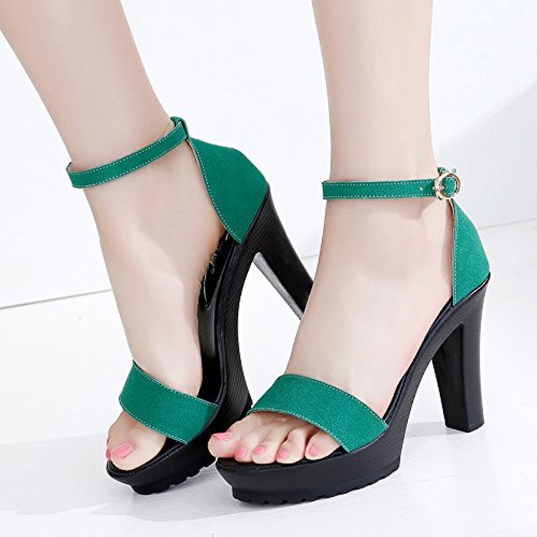 YMFIE Einfache Mode Wildleder Zehen High Heel Sandaletten Sommer Damen Gürtel High Heels