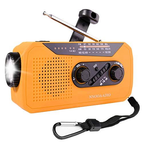 Emergency Radio, NOAA Radio, Portable Hand Crank Self Powered AM/FM Solar Weather Radio with 2W LED Flashlight, WB Radio with SOS Alarm & Battery Backup, 2000mAh Emergency Power Bank for Cellphone