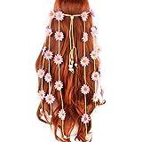 NumblartdTocado ajustable de girasoles bohemios para la cabeza, diadema Numblartd para mujer, gitana, hippie, hecho a mano, corona floral, accesorio para el pelo para novia, Rosado, 0.8818[set de ]