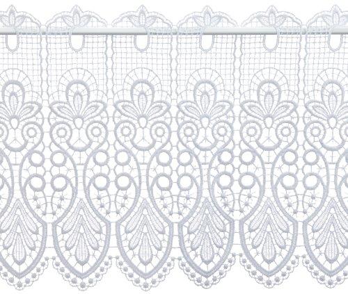 Plauener Spitze by Modespitze, Store Bistro Gardine Scheibengardine mit Stangendurchzug, hochwertige Stickerei, Höhe 35 cm, Breite 144 cm, Weiß