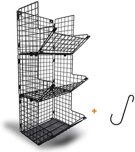 MESH BOTTOM Livingsense 3 Tier Premium Wall Mounted Hanging Basket Garage Kitchen Storage Organizer product image