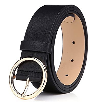 BestWare Round Buckle Belt Casual Belt Wide Leather Belt Women Belts Leather Pu Leather Belt black