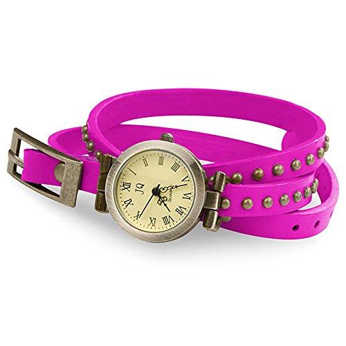 Taffstyle Damen-Armbanduhr Analog Quarz mit Leder-Armband Wickelarmband Uhr Vintage Pink Gold