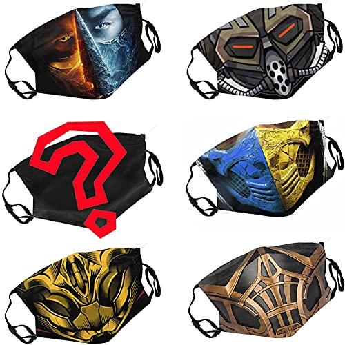 Baochengrui Mortal Kombat 6Pcs wiederverwendbare Gesichtsmaske mit verstellbaren EarLoops, Herren Damen Cosplay Bandana Sturmhaube, Unisex für Erwachsene Teen, Style-15