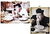 KUSTOM ART 2 cuadros de estilo vintage con los famosos actores : Alberto Sordi y Fernandel. Impresión sobre madera para decoración de restaurante pizzería bar hotel