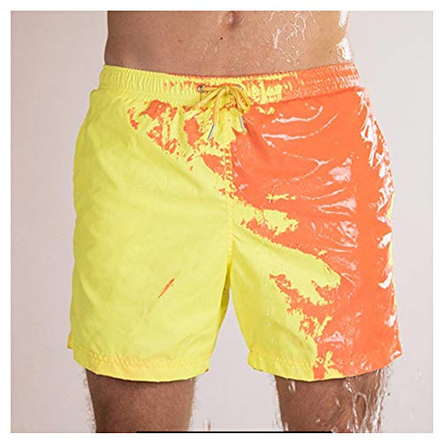 Herren Bademode Shorts Badehose Magical Farbwechsel Quick Dry Beach Sweatshorts Kurze Hose Jogginghose Sport Shorts Freizeithose Kurze Stretch Material Cargohose (L, Gelb)